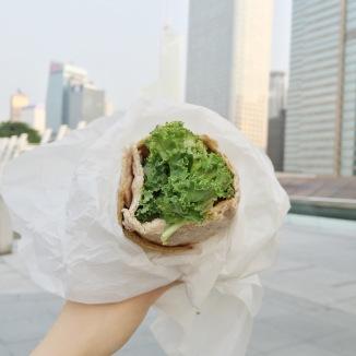 Mana! flat with kale, avocado, falafels and baba ghanouj, HK$50.
