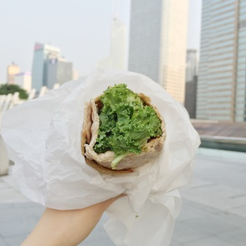 Mana! half flat with kale, avocado, falafels and baba ghanouj, HK$50.